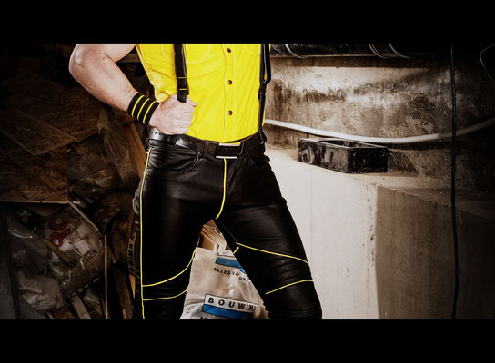 F-Wear police shirt  Faux leather motor pants