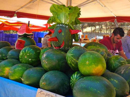 Pastèques au marché