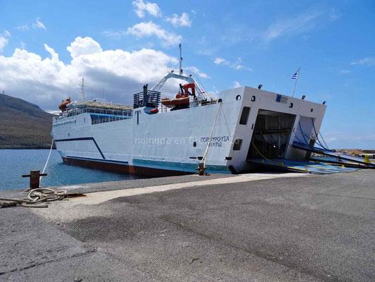 Le ferry qui nous fera la traversée entre Cythère et Néapoli en Grèce continentale.