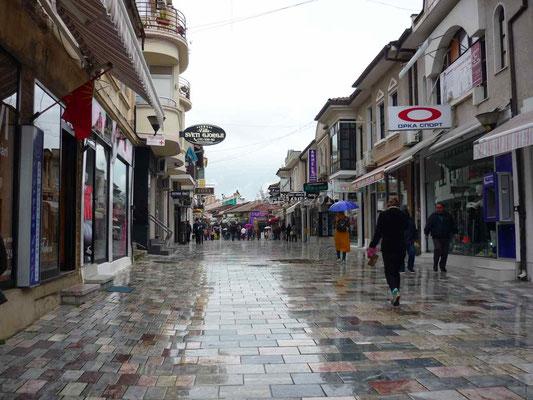 Le centre piétonnier d'Ohrid.
