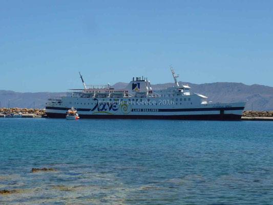 Le ferry qui va nous emmener de Kissamos à Cythère