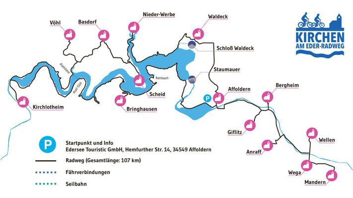 14 Kirchengemeinden entlang des Eder-Radweges öffenen die Türern ihrer Kirchen. Grafik: Wolfgang Fricke www.hernfrickesbuero.de