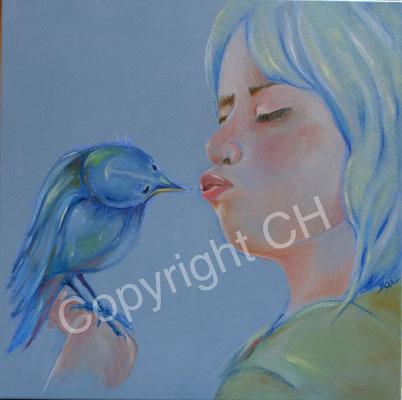 Kleiner Vogel blau  50 / 50