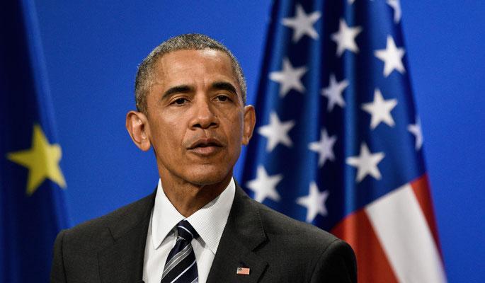 US-amerikanischer Politiker Barack Obama spricht bei einen Pressekonferenz