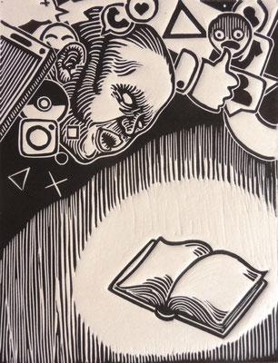 """""""Il riposo o la libertà"""" - Xilografia-200x150mm-2019"""