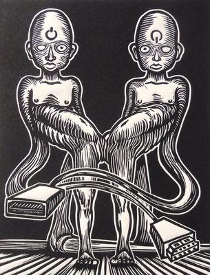 """""""Gli animali della terra"""" - Xilografia-200x150mm-2019"""