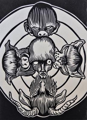 """Delitti bestiali"" - xilografia - mm. 200x150 - 2018"