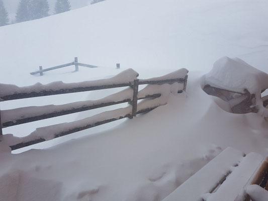 Die Hüttenterrasse nach einer Nacht Schneefall am Streifwochenende