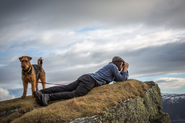 Unser Mountainguide Sverre und sein Hund Rando auf Vogelschau.