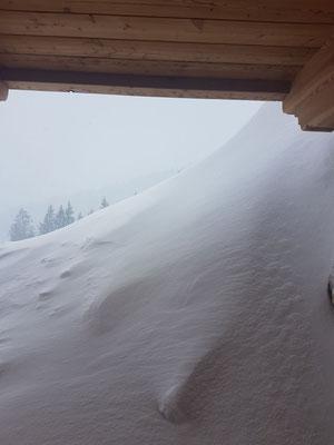 Blick aus dem Untergeschoß der Hütte in den Kitzbühler Alpen am Streifwochenende