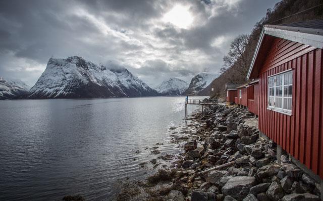 Fischen am Fjord, die Erste.