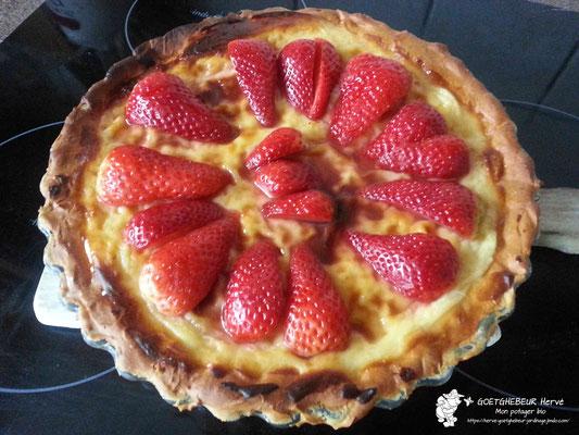Tarte aux fraises du jardin - Tarte faite maison.