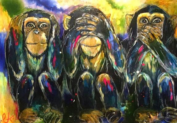 Die  drei weisen Affen - Mixed-Media 100 x 70 (2020)