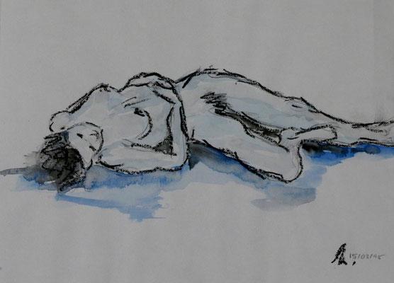 Akt - Bleistift, Wachs, Aquarell (1995)