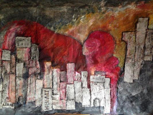 Inferno - Collage, Gouache, Kreide auf Holzplatte  95 x 140 x 2 cm (2017)
