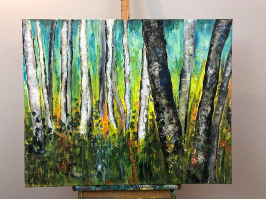 Birkenwald - Acryl - 80 x 100 x 4 cm (2016)