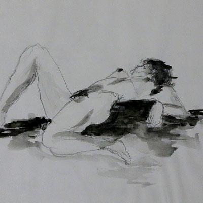Akt - Bleistift und Aquarell (1995)