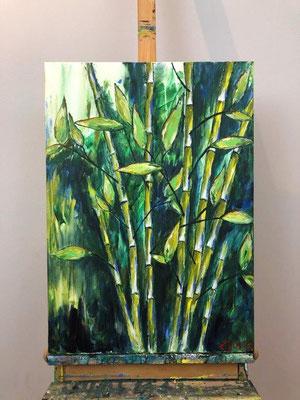 Wilder Bambus - Acryl 50x70 x 1,5 cm  (2017)