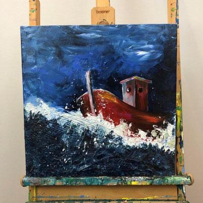 Stürmische Nacht - Acryl, Spachtelmasse, Sand 45x45x1,5 cm (2017)