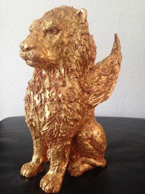 Löwe mit Blattgold veredelt  Höhe ca. 25 cm (2018)