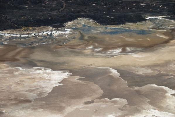 Croste di sale efflorescenti (Trona) sul Lago Logipi durante un periodo asciutto