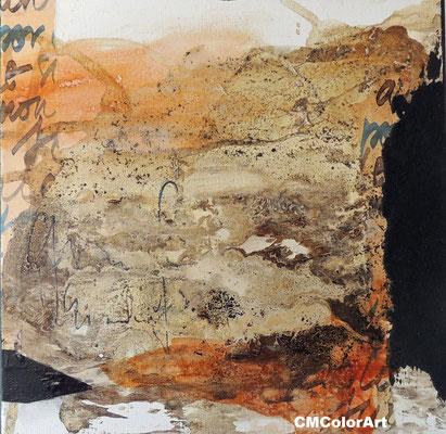 Earth 1, 30 x 30, Acrylcollage mit Bitumen