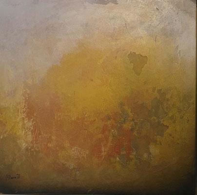 Mystery Gold, 80 x  80 mit Rahmen, Collage/Decollage auf Holz