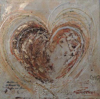 Herz 2017.1, 30x30, Acrylcollage