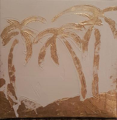 Palms, 30x30, Acryl mit Gold, Privatbesitz