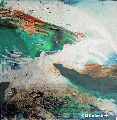 Ufer, 60 x 60 XL, Acrylcollage
