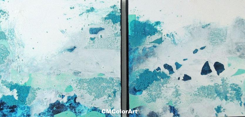 aufgewühltes Meer, 40 x 80 XL, 2-teilige Acrylcollage