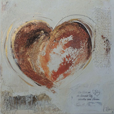 Herz 2017.2, 30x30, Acrylcollage, Privatbesitz