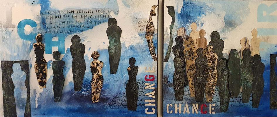 Im Wandel, 140 x 60 XL, 2-teilig, Acrylcollage