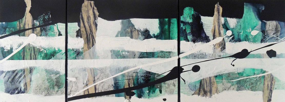 Maritim, 50x130, 3-teilig, Acrylcollage, Privatbesitz