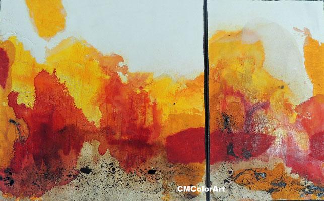 Feuer, 50 x 80, 2-teilige Acrylcollage mit Bitumen