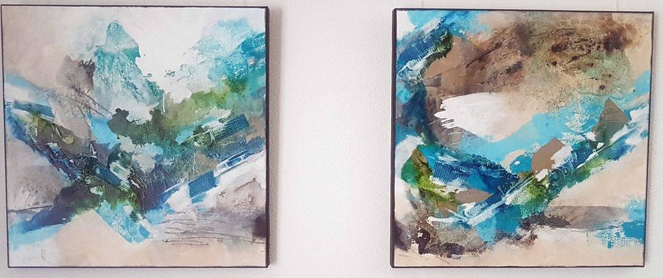 Duett in blue, 70 x 140 XL, 2-teilige Acrylcollage, Privatbesitz