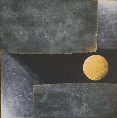 La luna piena, 80 x 80 mit Rahmen, Mix-Media auf Holz