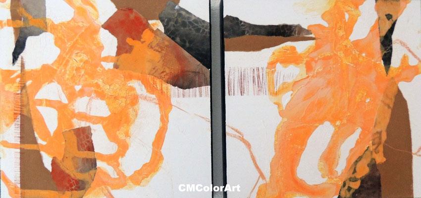 Lebenswege, 40 x 80 XL, 2-teilige Acrylcollage