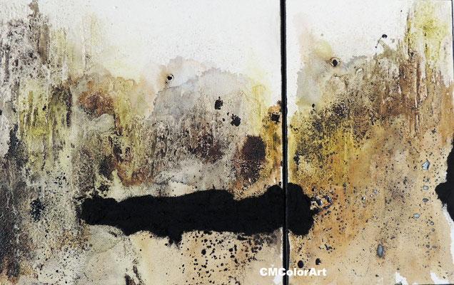 Black wall, 50x80, 2-teilig, Collage in Mischtechnik, verkauft