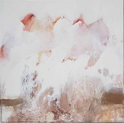 Im Nebel, 80x80 XL, Acrylcollage, verkauft