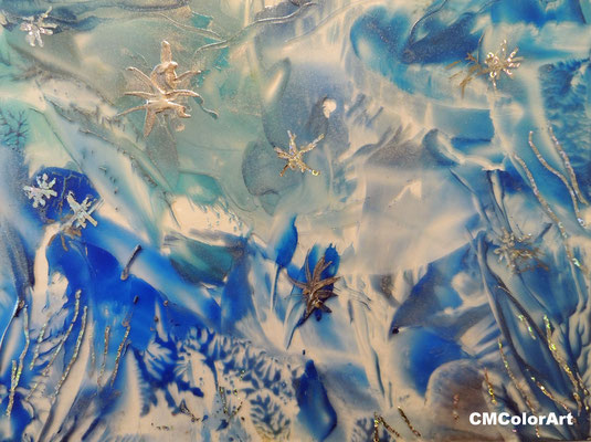 Ice,  Wachs auf Glas in Encaustic-Technik