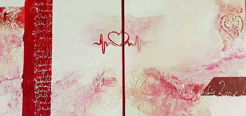 Neverending Love, 40x80 XL 2-teilig, Acrylcollage
