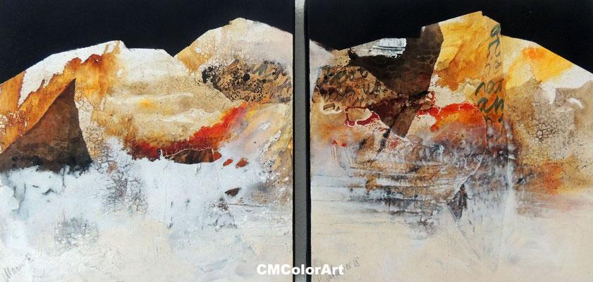 Earth 3, 40 x  80 XL, 2-teilige Acrylcollage mit Bitumen, verkauft