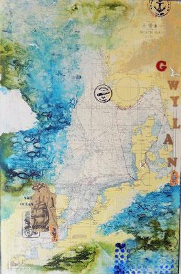 Seekarte, Acrylcollage, Verkauft