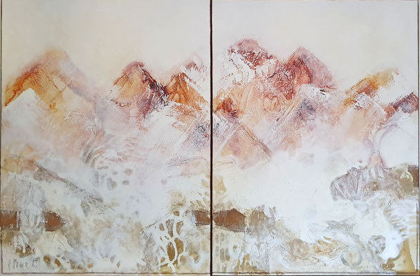 Bergzauber, 80x120 XL, 2-teilig, Acrylcollage