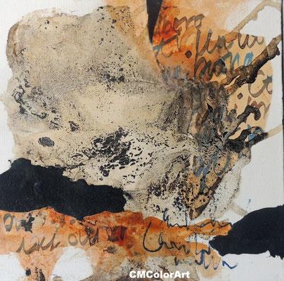 Earth 2, 30 x 30, Acrylcollage mit Bitumen