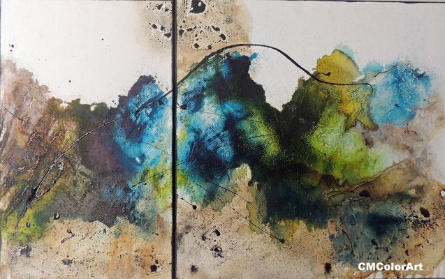 Küste, 50 x 80, 2-teilige Acrylcollage mit Bitumen