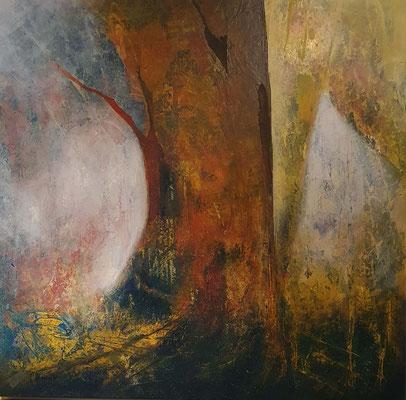 Magic tree, 80 x 80 mit Rahmen, Collage/Decollage auf Holz