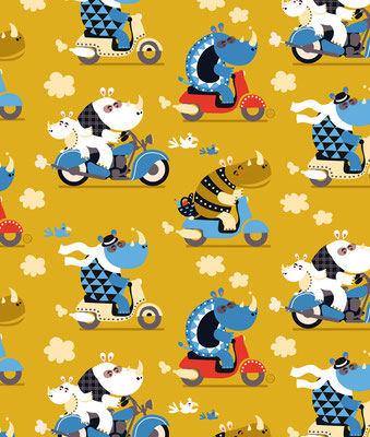 Rhino's on scooters - available as fabric on www.spoonflower.com