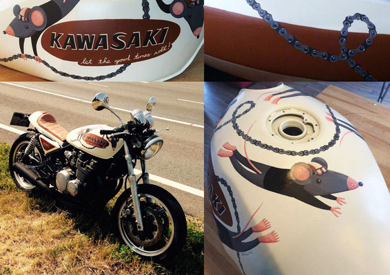 I painted a motorcycle for a friend, came out really funky!